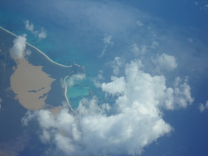 Flying over one of the beautiful Bahamas Islands.