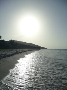 Sun setting over Zoni Beach.